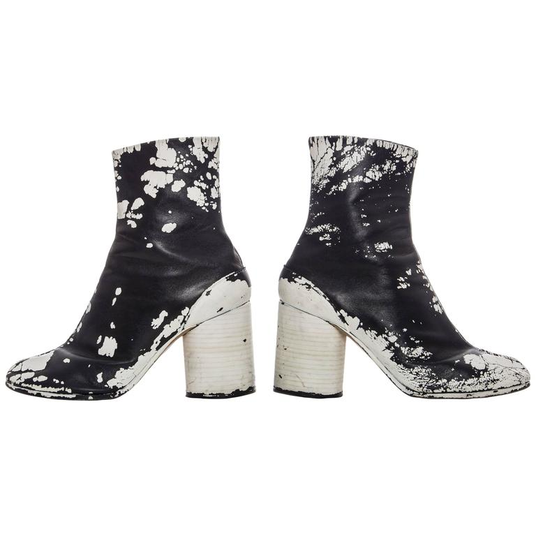 Maison Martin Margiela Leather Painted Tabi Boots Circa