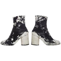 Maison Martin Margiela Leather Painted Tabi Boots Circa 1990's