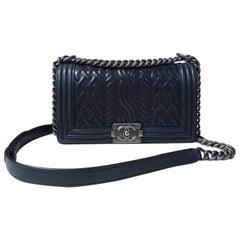 Chanel Black Embossed Lambskin Celtic Medium Boy Bag