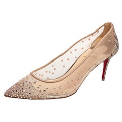 Christian Louboutin Crystal Embellished Mesh Strass Pointed Toe Pumps Size 37