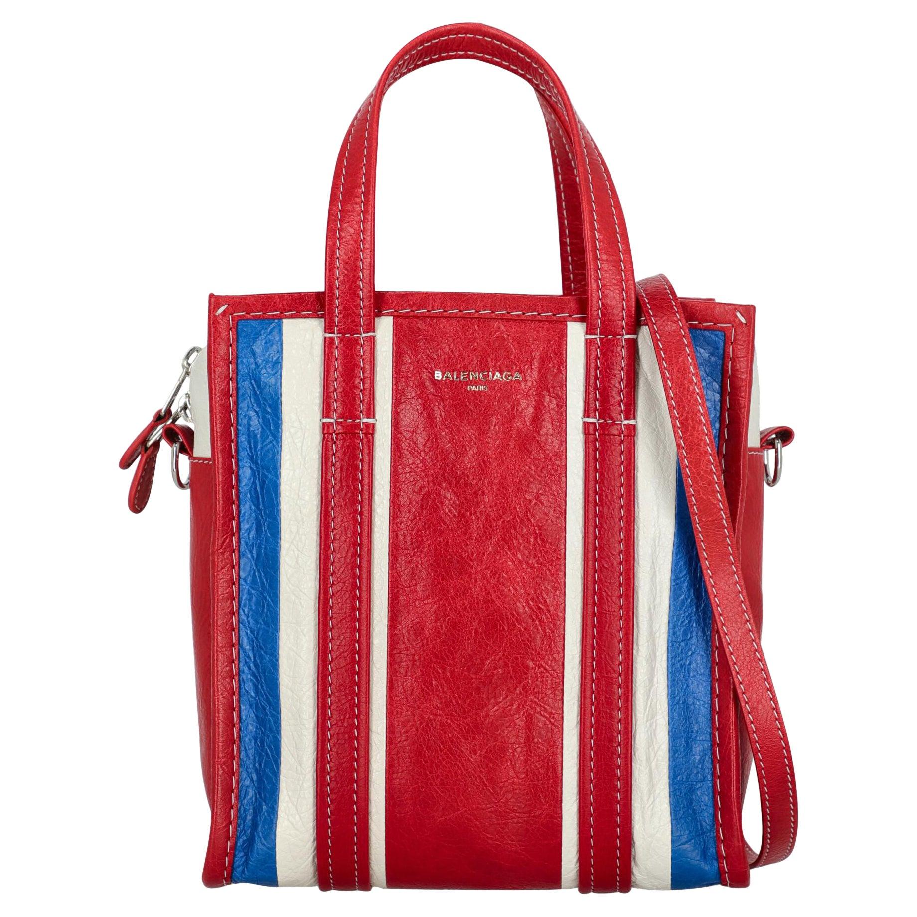 Balenciaga Women Shoulder bags Bazaar Navy, Red, White Leather