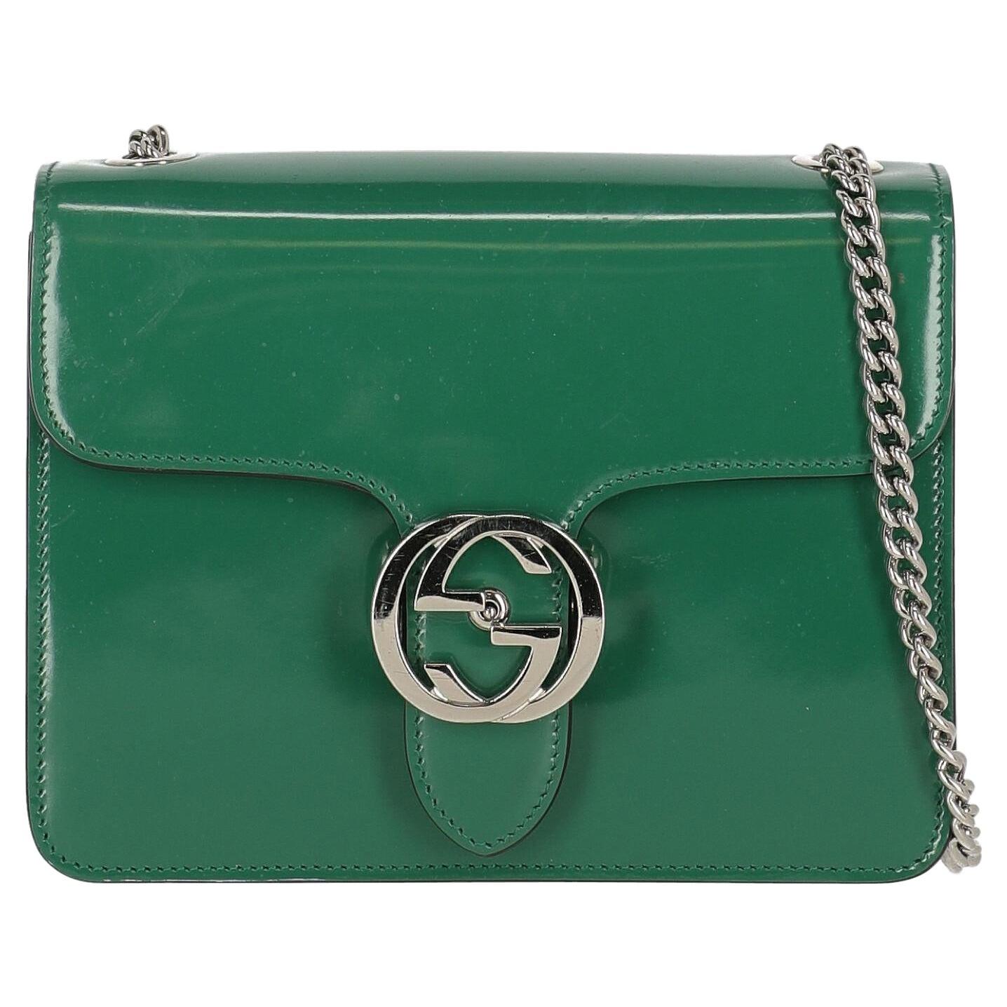 """Gucci Women Shoulder bags Interlocking Green Leather """