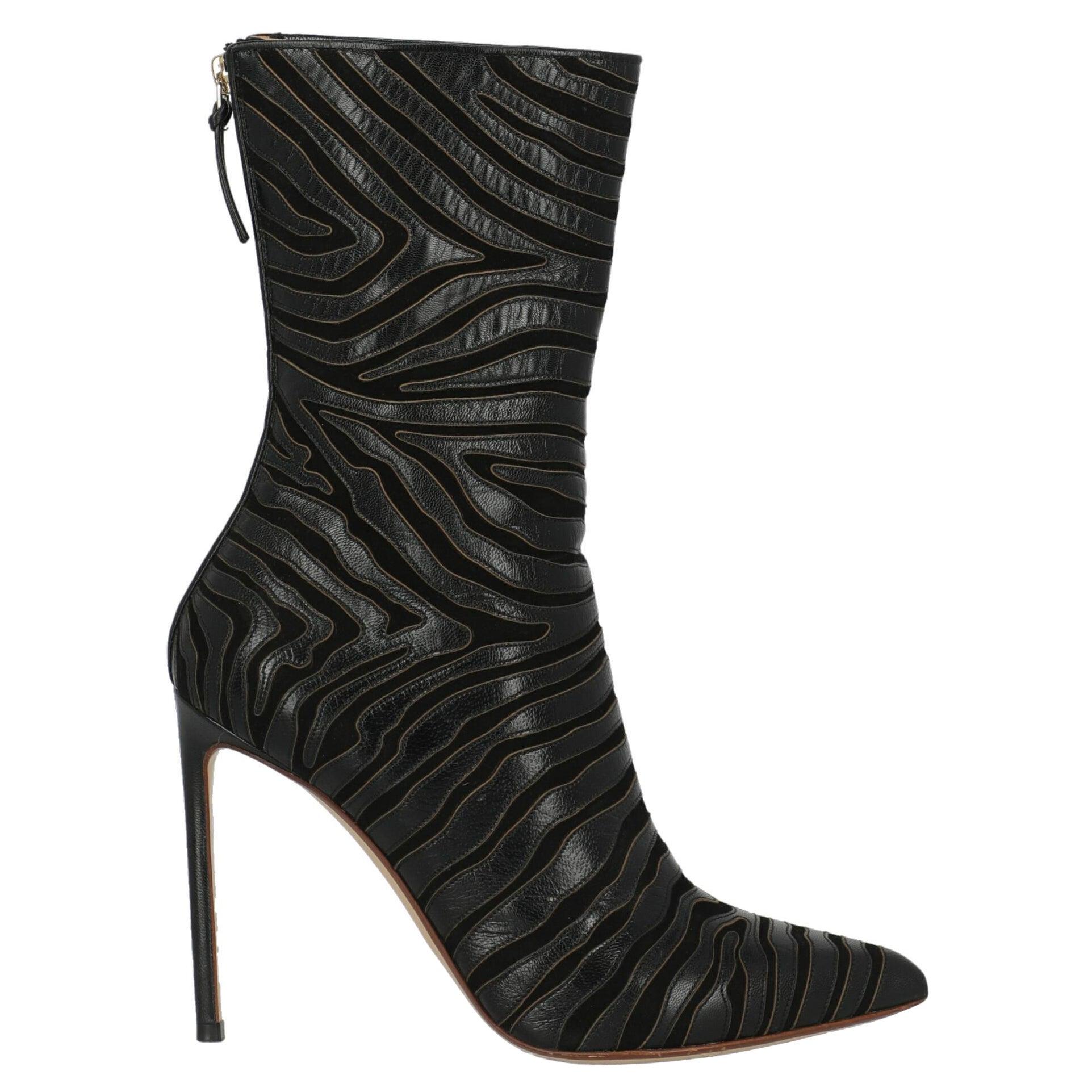 Francesco Russo Women Ankle boots Black Leather EU 38.5