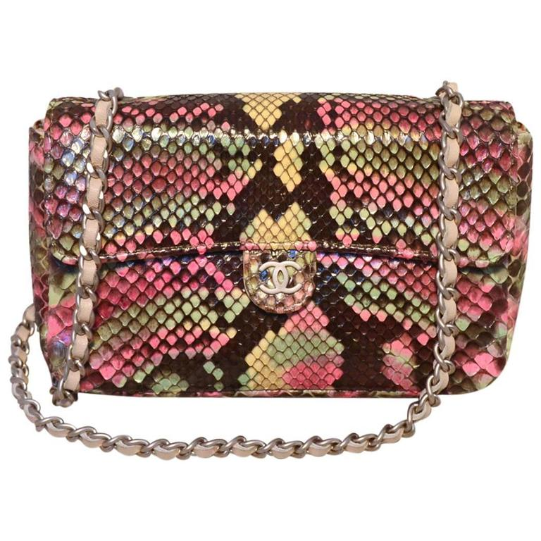 Chanel Multi Color Python Snakeskin Mini Classic Flap Shoulder Bag 1