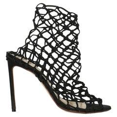 Francesco Russo Women Sandals Black Synthetic Fibers EU 38.5