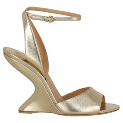 Salvatore Ferragamo Women Pumps Gold Leather EU 38.5
