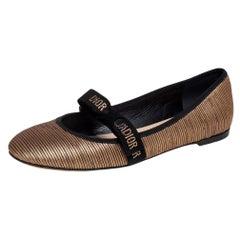 Dior Metallic Gold Fabric Miss J'adior Ballerina Flats Size 39