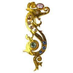 Balenciaga Vintage Gold Toned Jewelled Seahorse Brooch