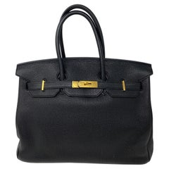 Hermes Birkin Black 35 Gold Hardware Bag