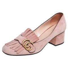 Gucci Light Pink Suede GG Marmont Fringe Block Heel Pumps Size 38.5