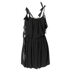 Saint Laurent Black Strappy Mini Dress Size 38