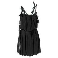 Saint Laurent Black Strappy Mini Dress Size 40