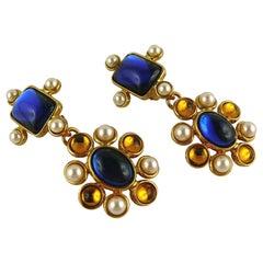 Yves Saint Laurent YSL Vintage Blue Orange Faux Pearls Dangling Earrings