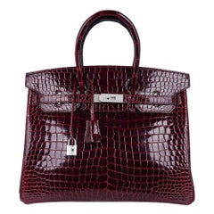 Hermes Birkin 35 Diamond Bordeaux Porosus Crocodile Bag White Gold Hardware