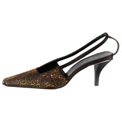 S/S 1998 Gucci by Tom Ford 'GG' Crystal Heels in Brown Amber