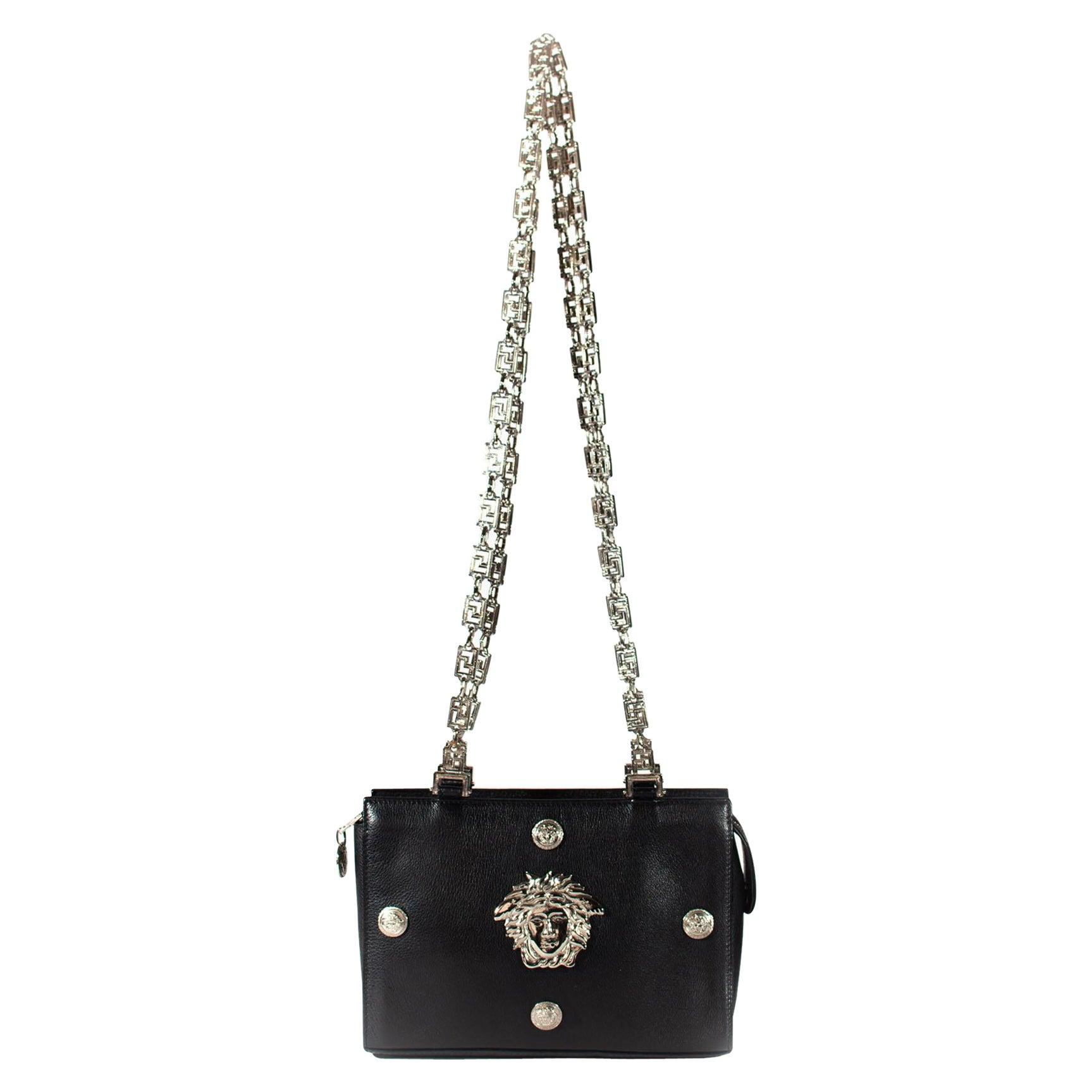 Gianni Versace Couture Silver Greek Key Medusa Leather Shoulder & Crossbody Bag
