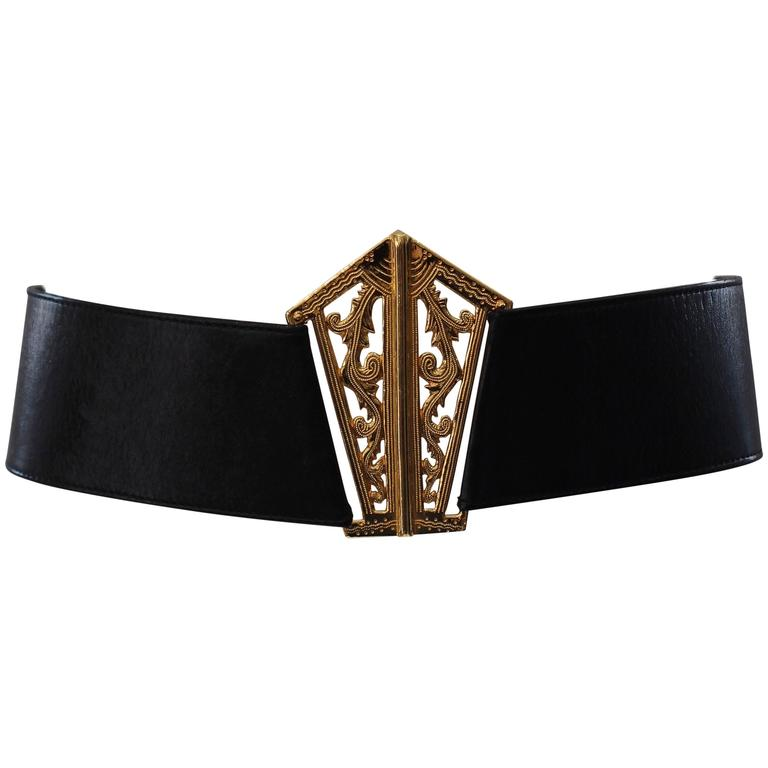 1980s Chanel Gold and Leather Belt