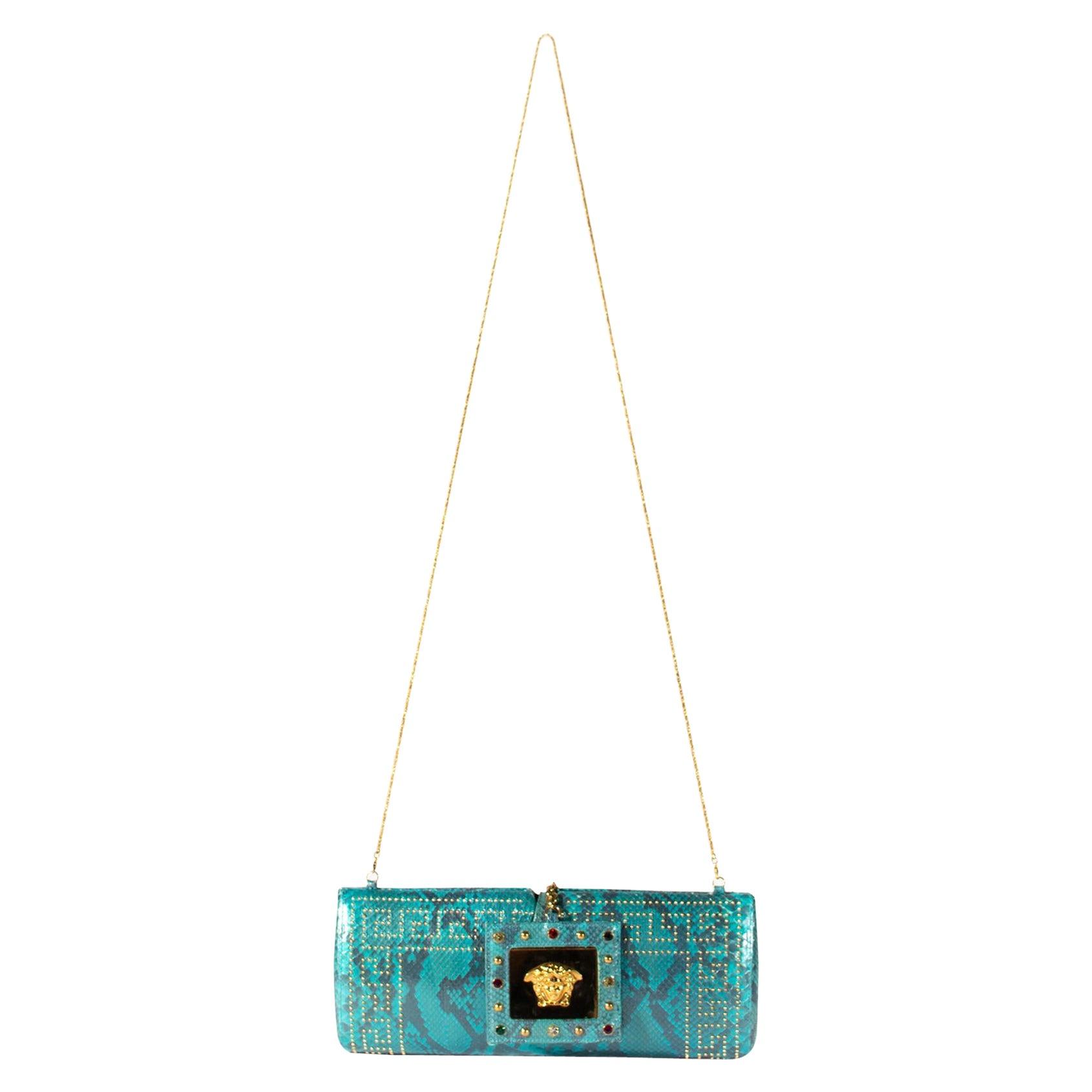 S/S 2000 Gianni Versace Python Blue Convertible Evening Bag & Clutch Donatella