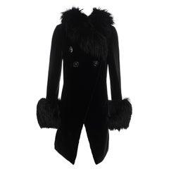Vivienne Westwood black velvet and sheepskin double breasted coat, fw 1992