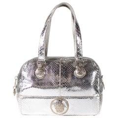Vintage Gianni Versace Silver Metallic Python Medusa Shoulder Bag