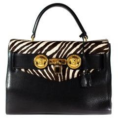 Gianni Versace Zebra Pony Hair Kelly Style 'Diana' Bag