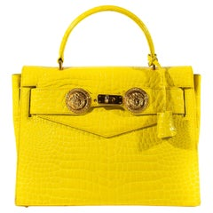 F/W 1994 Gianni Versace Yellow Crocodile Embossed Patent Kelly Style 'Diana' Bag