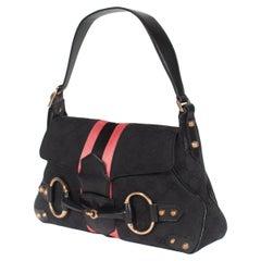S/S 2004 Gucci by Tom Ford Black GG Horsebit Shoulder Bag with Pink Satin Stripe
