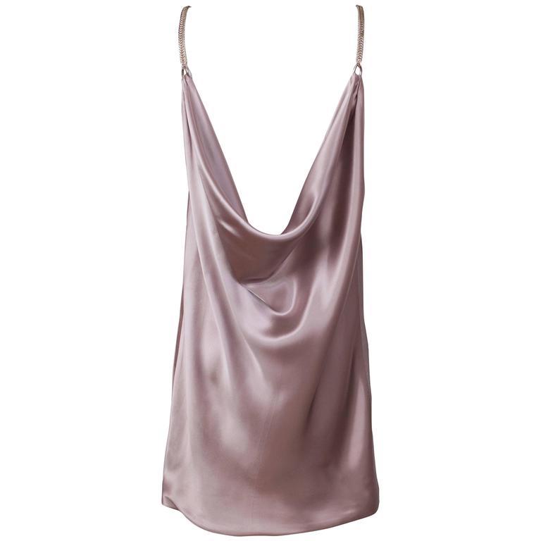 Anne Klein Mini Shift Cocktail Dress w/Fishtail Metal Chain Straps & Cowl Back For Sale