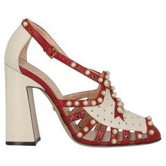 Gucci Women Pumps Red, White Leather EU 39