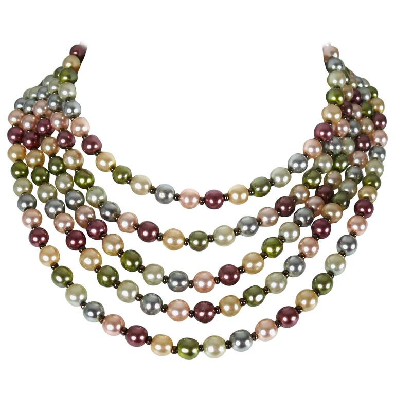 Christian Dior Vintage Five Strand Multicolor Pearl Choker Necklace 1