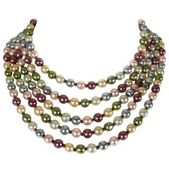 Christian Dior Vintage Five Strand Multicolor Pearl Choker Necklace