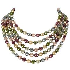 Christian Dior Vintage Five Strand Multicolor Pearl Choker Necklace