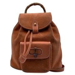 Gucci Vintage Orange Suede Bamboo Small Backpack Shoulder Bag