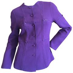 Chado Ralph Rucci Purple Jacket with Open Stitch Details