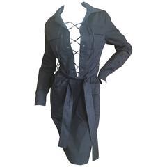 Yves Saint Laurent Tom Ford Black Cotton Safari Dress