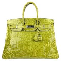 Hermes Birkin 35 Vert Anis Green Crocodile Palladium Hardware
