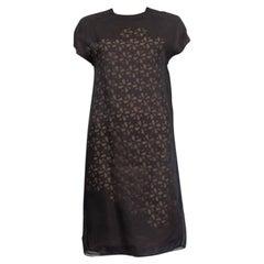 FENDI black silk FLORAL CUT-OUT LAYERED Shift Dress 38 XS