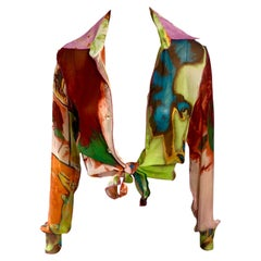 """Jean Paul Gaultier c.1990 Vintage """"Portraits"""" Print Sheer Blouse Shirt Top"""