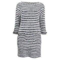 CHANEL black & white cotton 2018 CHAIN EMBELLISHED CROCHET Dress 38 S
