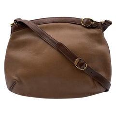 Gucci Vintage Tan Beige Leather Shoulder Bag Buckle Detail