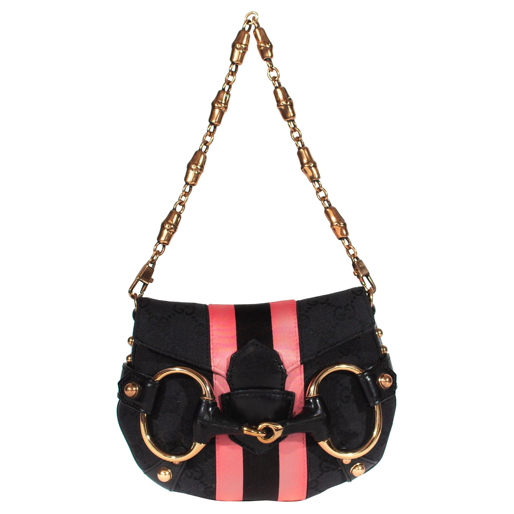 S/S 2004 Gucci by Tom Ford Black GG Horsebit Mini Evening Bag with Pink Stripe