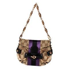 S/S 2004 Gucci by Tom Ford Tan GG Horsebit Mini Evening Bag Purple Satin Stripe