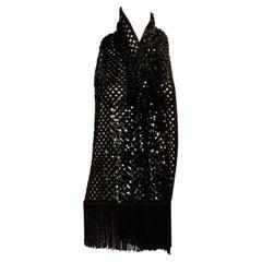 Black Sequin Lattice Weave Pattern Scarf