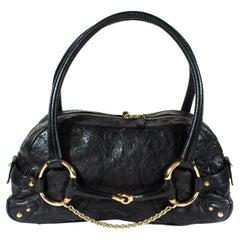 Gucci by Tom Ford Black Ostrich Leather Horsebit Oversized Shoulder Bag