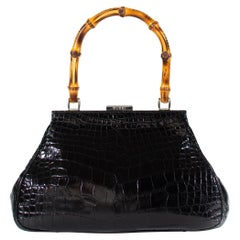 S/S 1995 Gucci by Tom Ford Bamboo Handle Alligator Bag Vintage