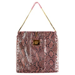 S/S 2000 Gianni Versace Couture Vintage Pink Python Flat Tote Large by Donatella