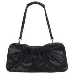Escada black leather frame bag convertible clutch or shoulder handbag