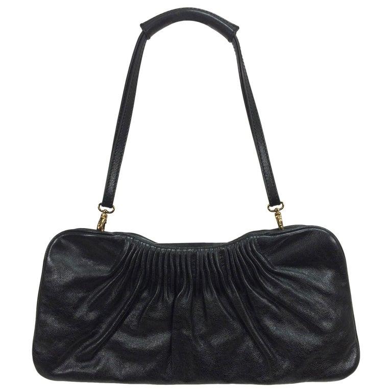 Escada black leather frame bag convertible clutch or shoulder handbag For Sale