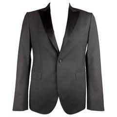 JOHN RICHMOND Size 42 Black Beaded Wool Peak Lapel Sport Coat