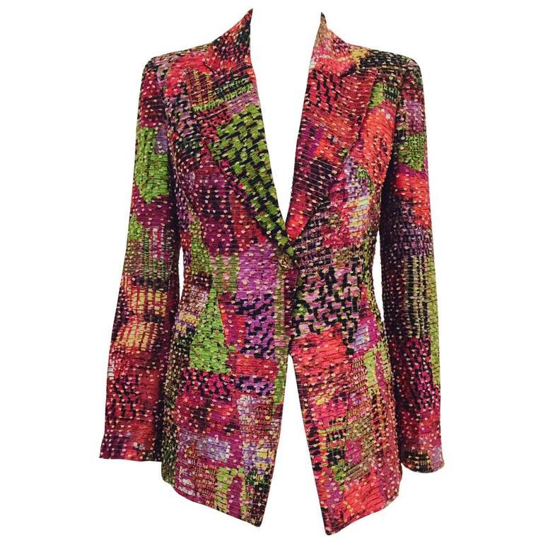 Bazar de Christian Lacroix Multi Color Textured Fitted Jacket With Peak Lapel
